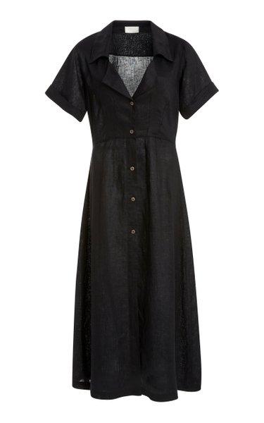Exclusive Elia Linen Midi Shirt Dress