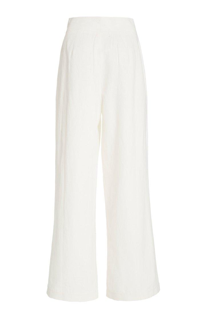 Solace Pleated Cotton-Linen Wide-Leg Pants