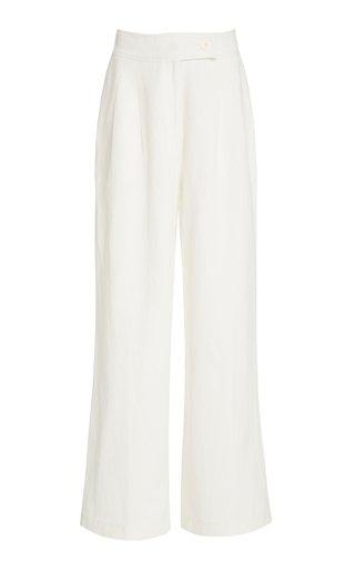 Exclusive Solace Pleated Cotton-Linen Wide-Leg Pants