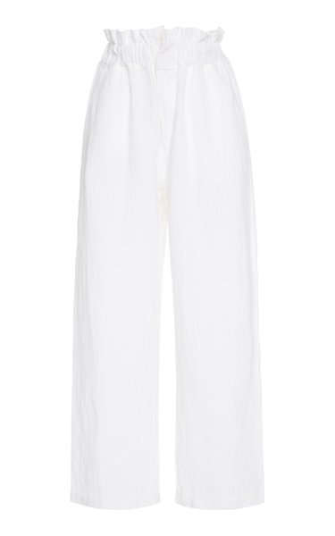 Exclusive Ducky Oversized Paperbag-Waist Linen Pants