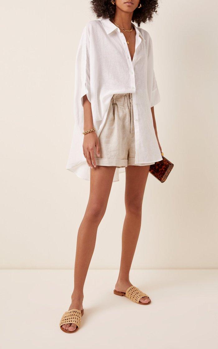 Ducky High-Rise Linen Shorts