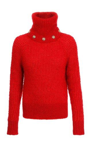 Waffle-Knit Mohair-Blend Turtleneck Sweater