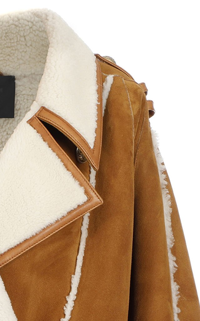 Shearling-Trimmed Suede Coat