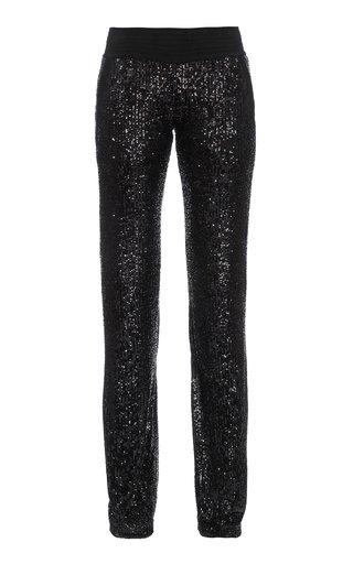 Sequined Knit Straight-Leg Pants