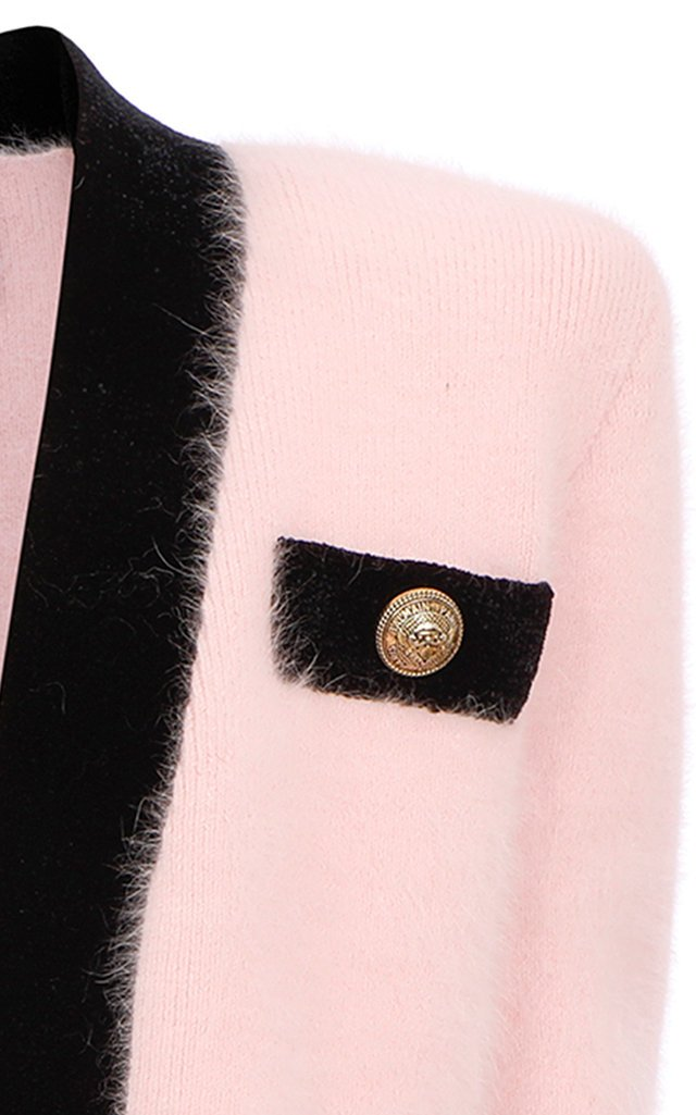 Velvet-Trimmed Angora-Blend Sweater