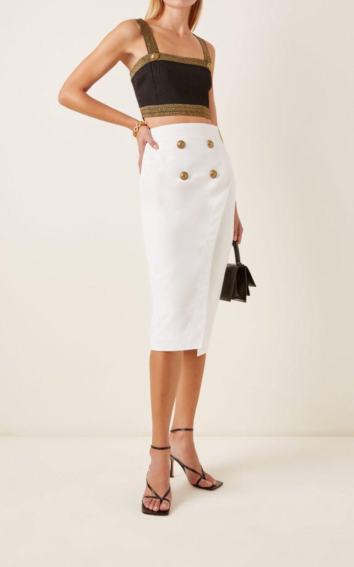 High-Rise Stretch-Wool Midi Skirt