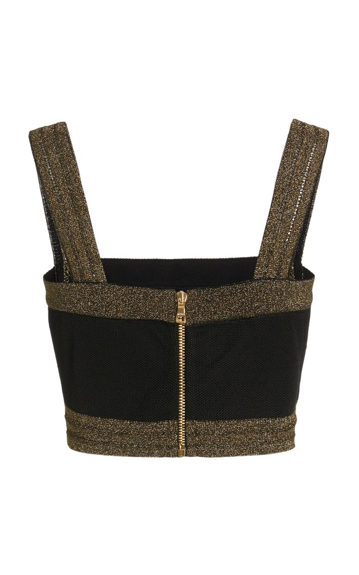 Metallic Jersey-Knit Bra Top