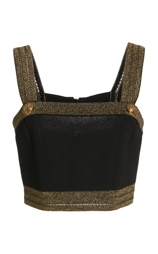Metallic Jersey-Knit Bra Top