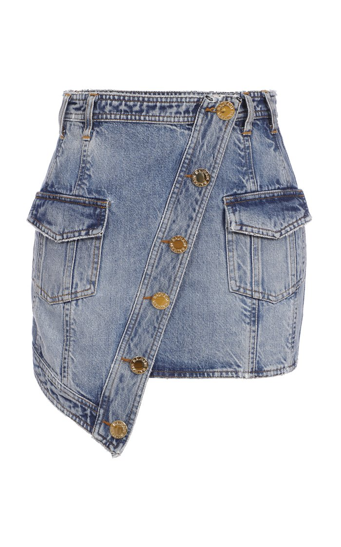 Asymmetric Denim Wrap Skirt