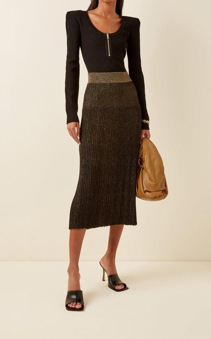 Pleated Lurex Midi Skirt
