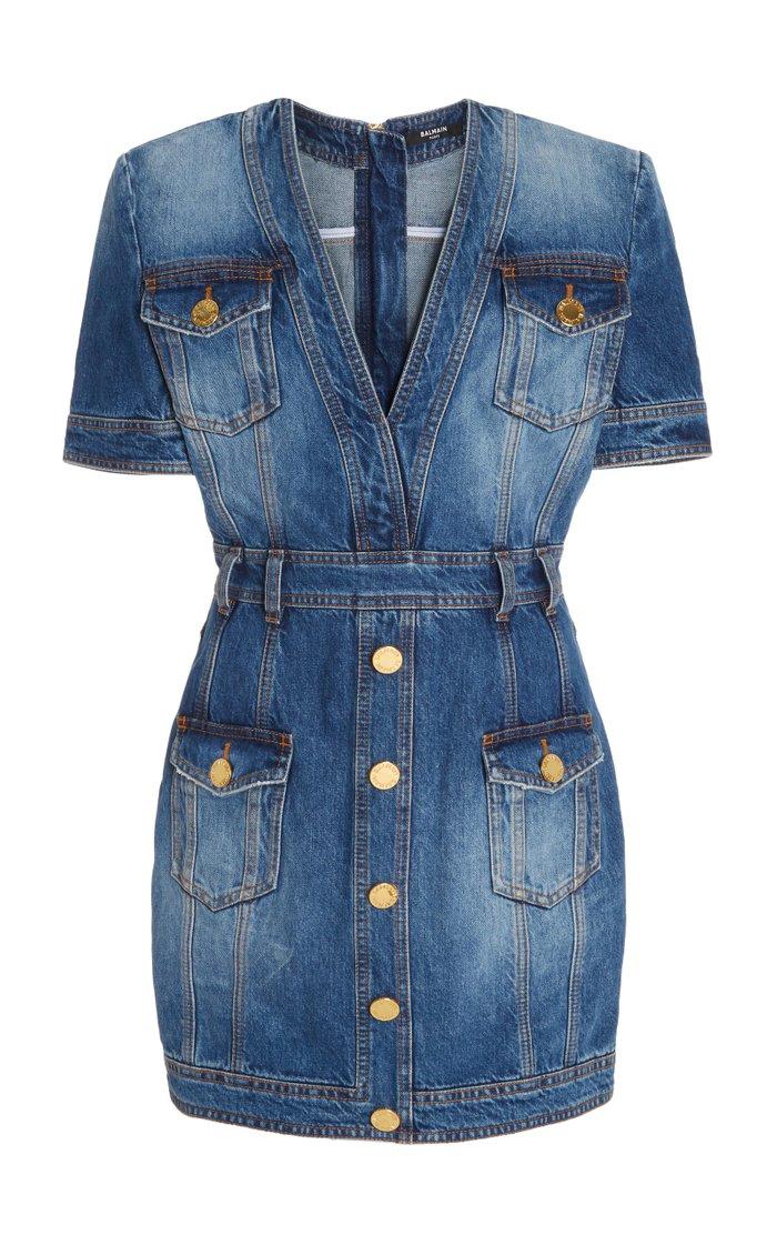 V-Neck Denim Mini Dress