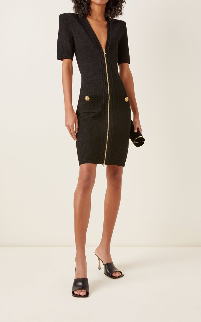 V-Neck Zip-Front Crepe Mini Dress