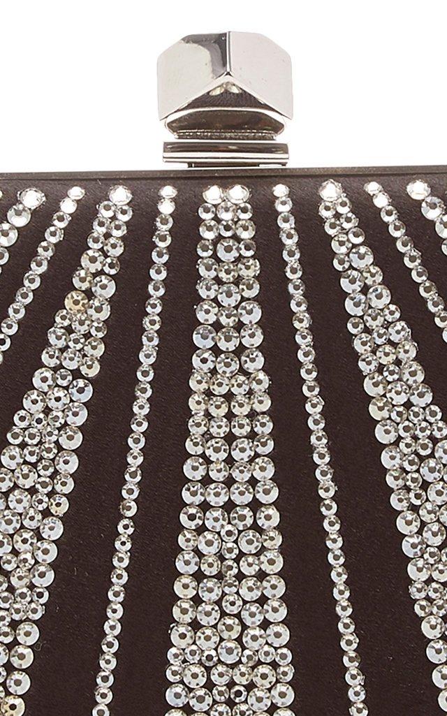 Celeste Crystal-Embellished Satin Clutch