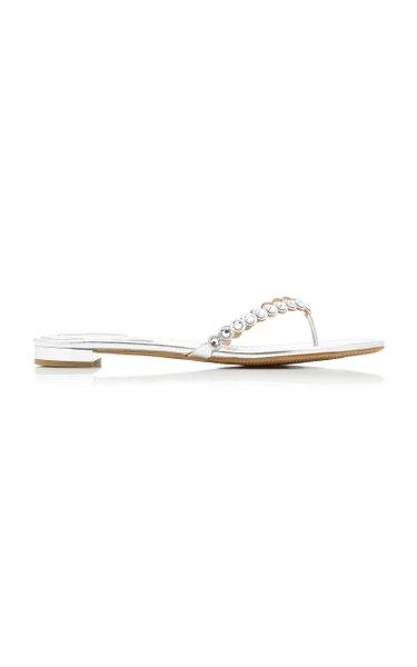 Tequila Crystal-Embellished Leather Flip Flops