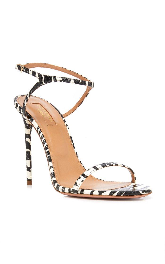 Naked Zebra Print Leather Sandals
