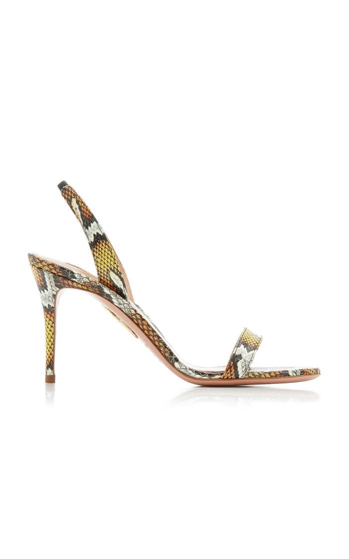So Nude Snakeskin Leather Sandals