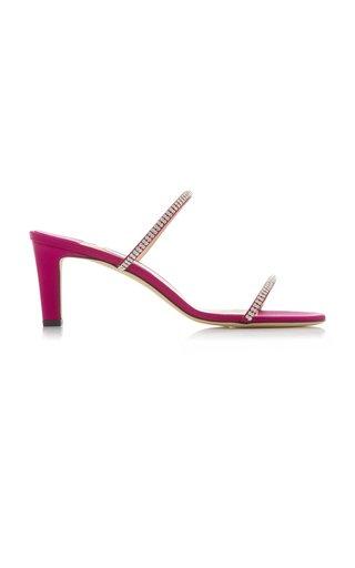 Brea Crystal-Embellished Satin Slide Sandals