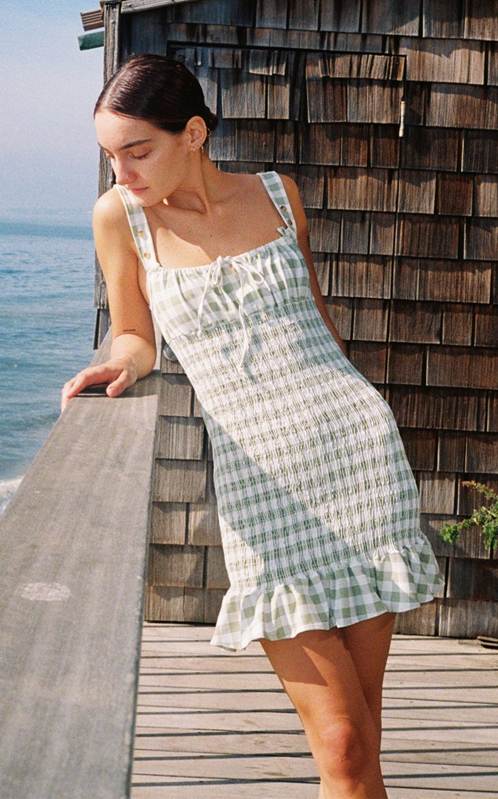 Cara Gingham Shirred Poplin Mini Dress