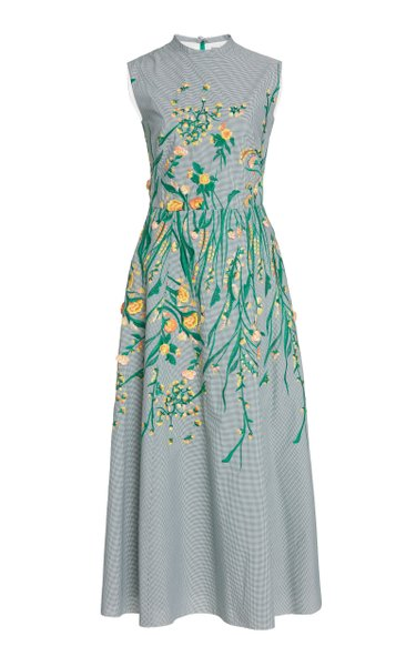 Embroidered Gingham Maxi Dress