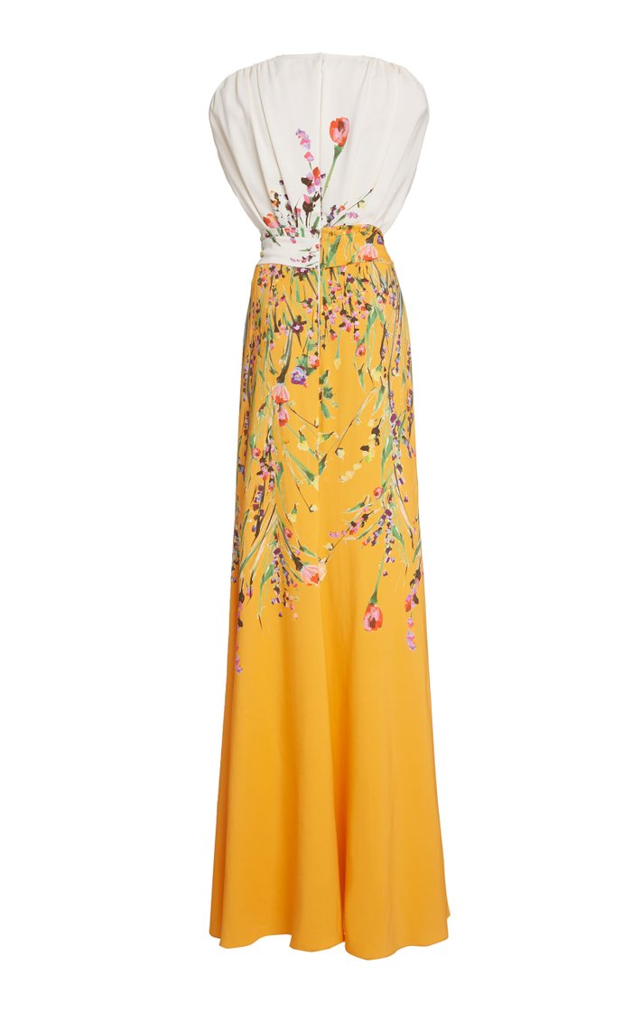 Belted Floral Crepe Gown