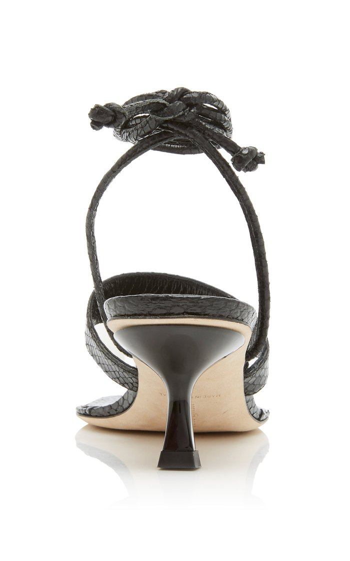 Vicky Tie-Detailed Snake-Effect Leather Sandals