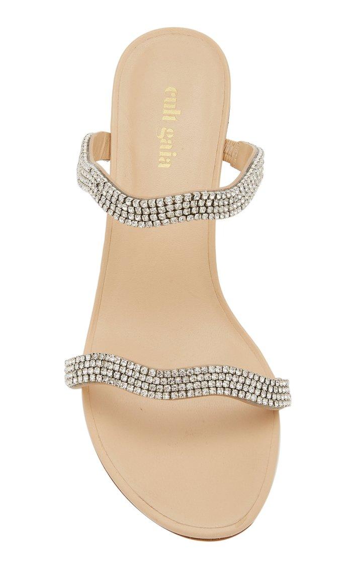 Aubrey Embellished Leather And Acrylic Sandals