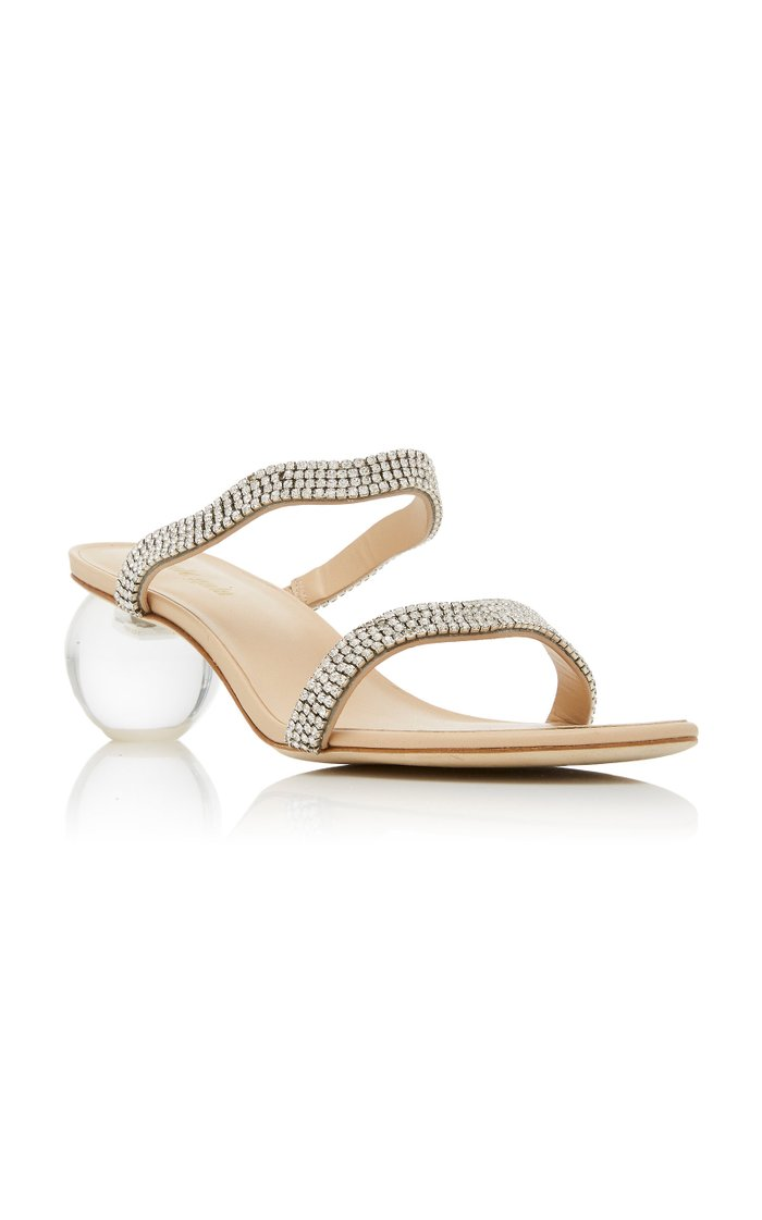 Aubrey Embellished Leather And Acrylic Sandals