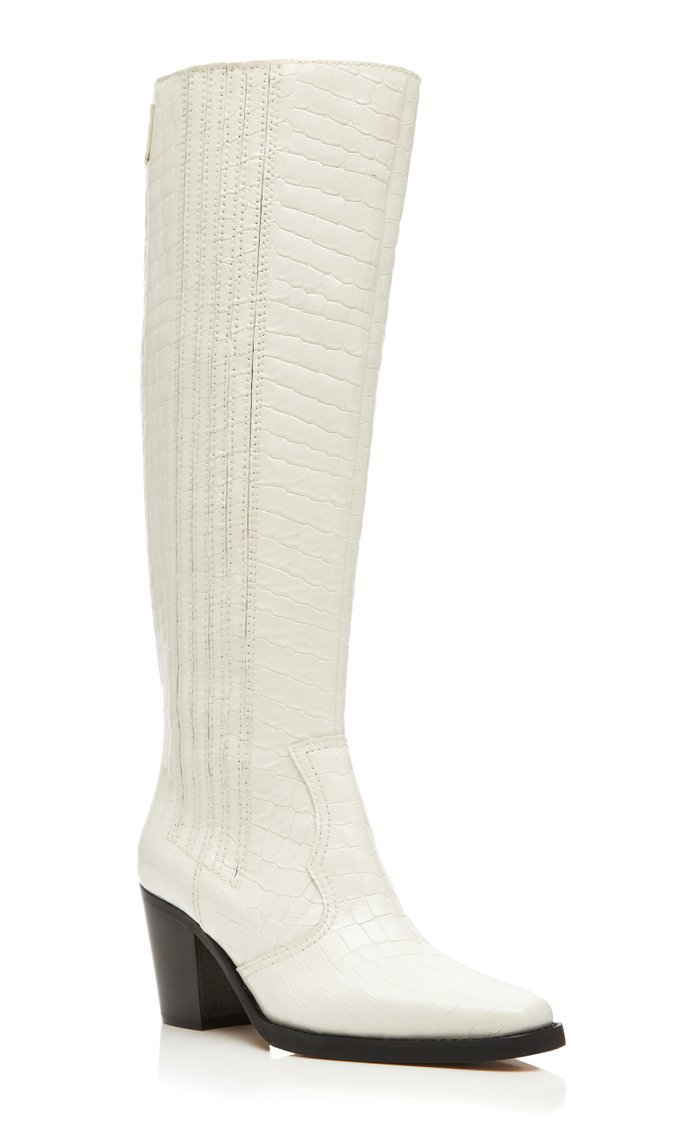 Croc-Effect Leather Knee-High Boots