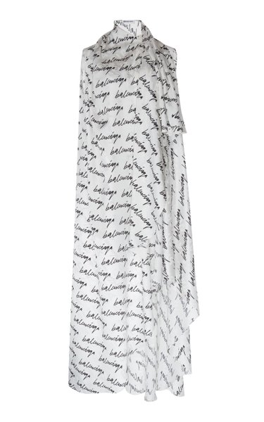 Stola Printed Draped Silk Maxi Dress