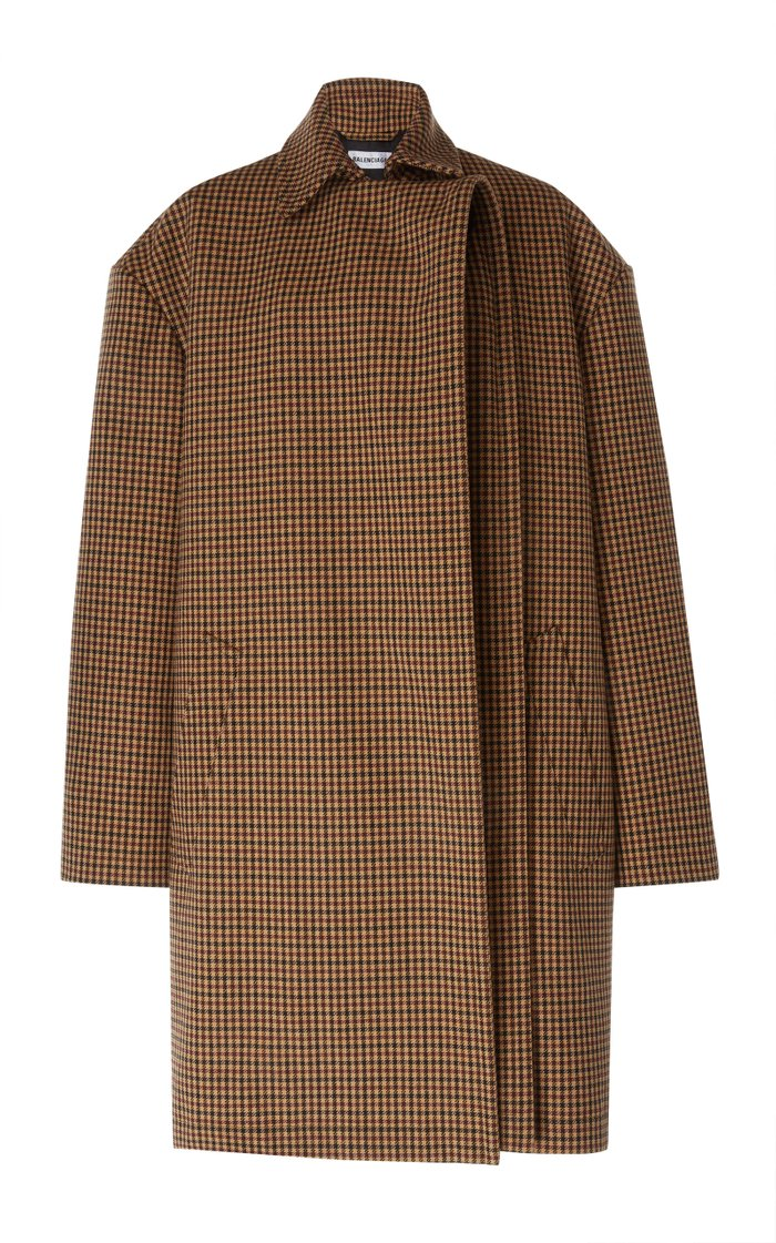 Oversized Houndstooth Wool Coat