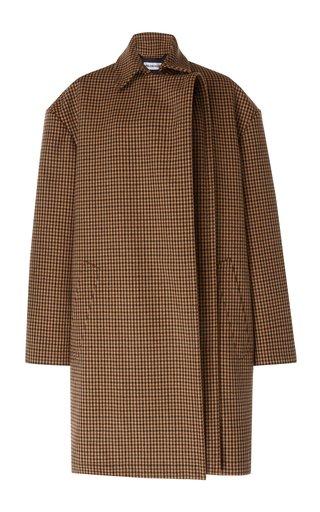 Oversized Houndstooth Wool Coat