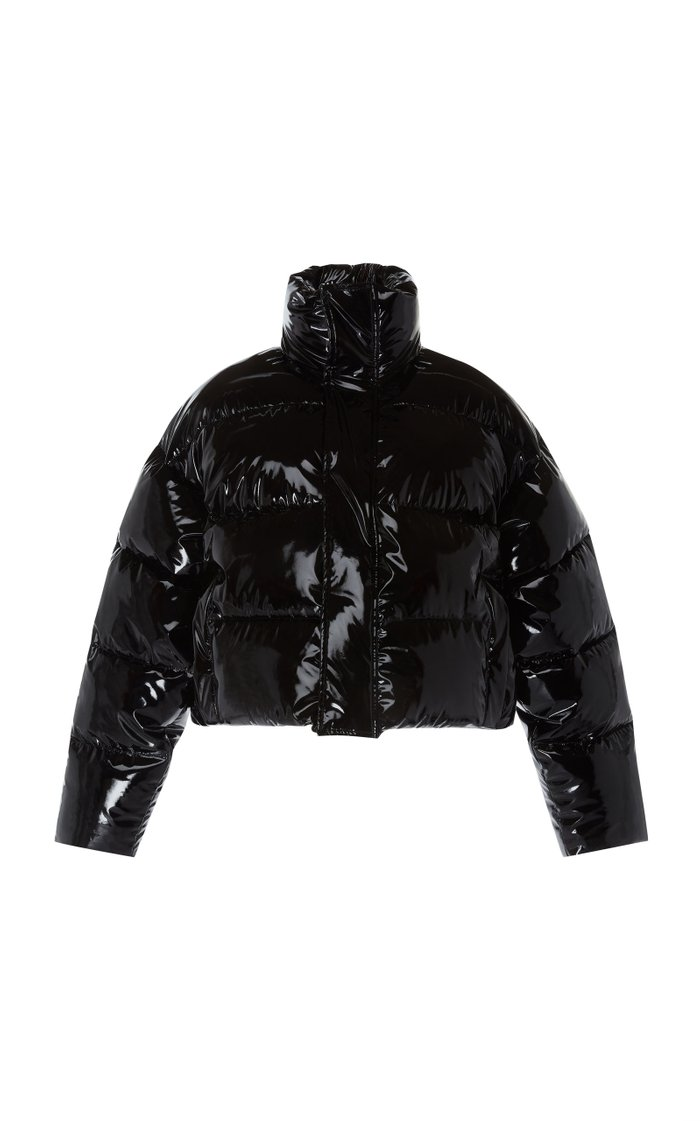 Cropped Glossed-Shell Down Coat