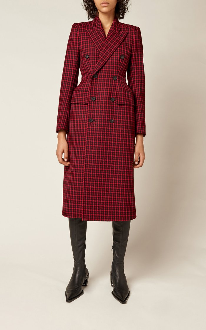 Houndstooth Double-Breasted Wool Coat