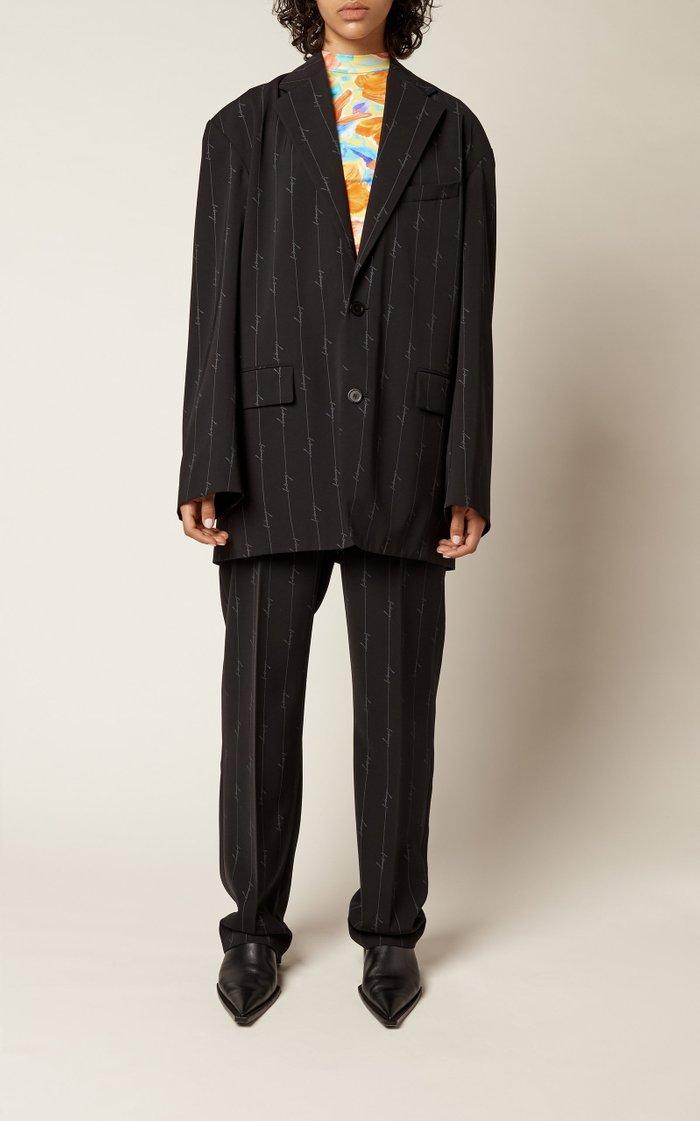 Oversized Pinstriped Twill Blazer