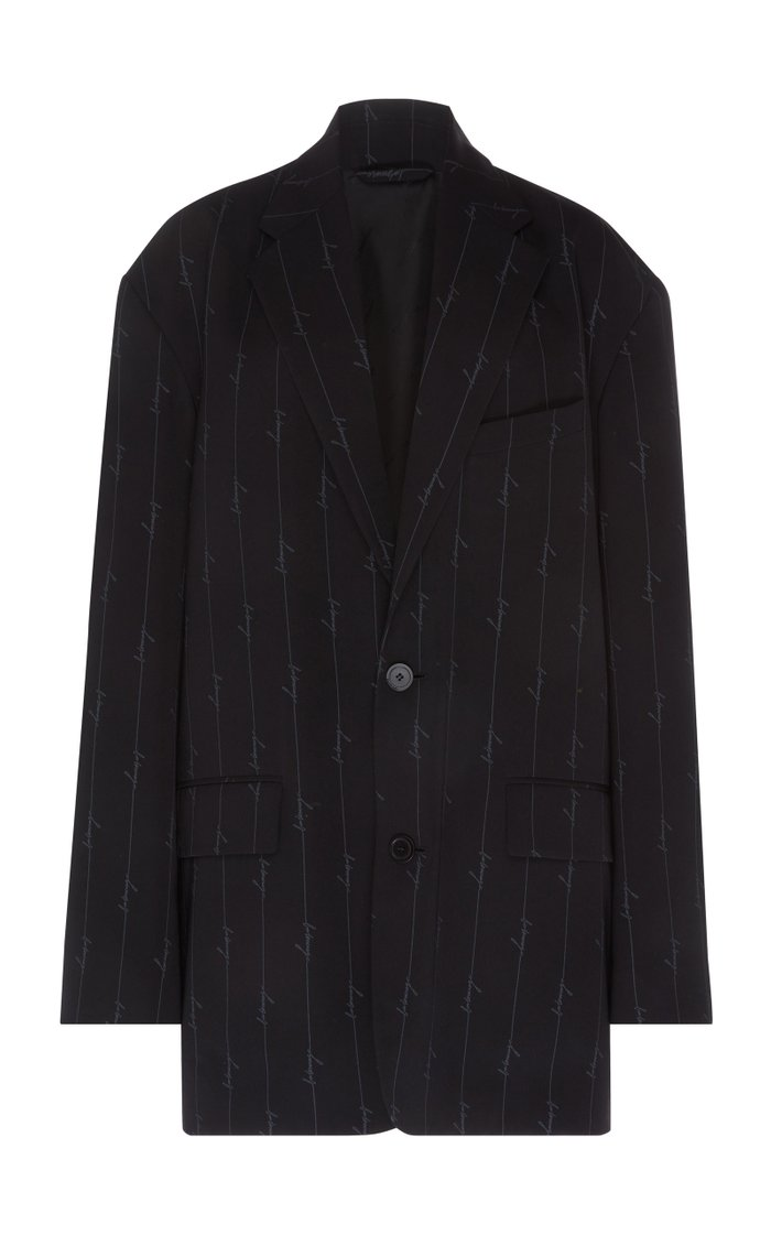 Oversized Pinstriped Twill Blazer