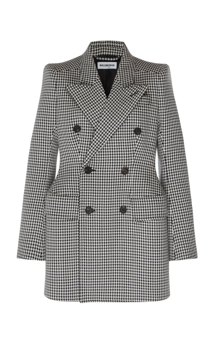 Houndstooth Double-Breasted Wool Blazer