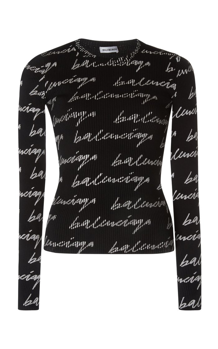 Printed Ribbed Stretch-Jersey Top