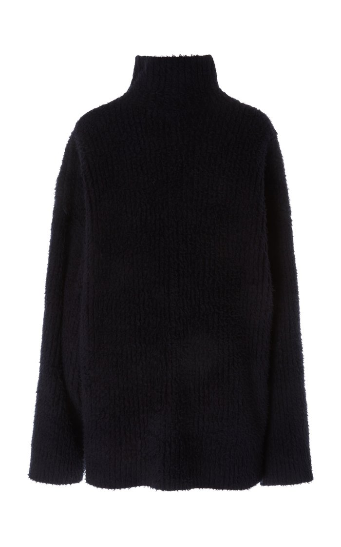 Oversized Embroidered Brushed-Cotton Turtleneck Sweater