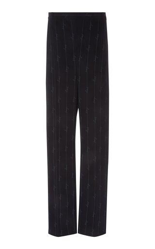 Pinstriped Twill Straight-Leg Pants