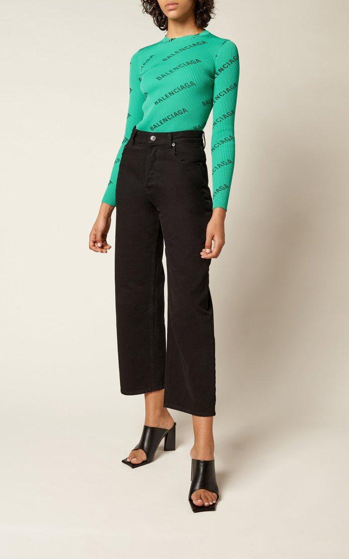 Cropped Rigid High-Rise Straight-Leg Jean