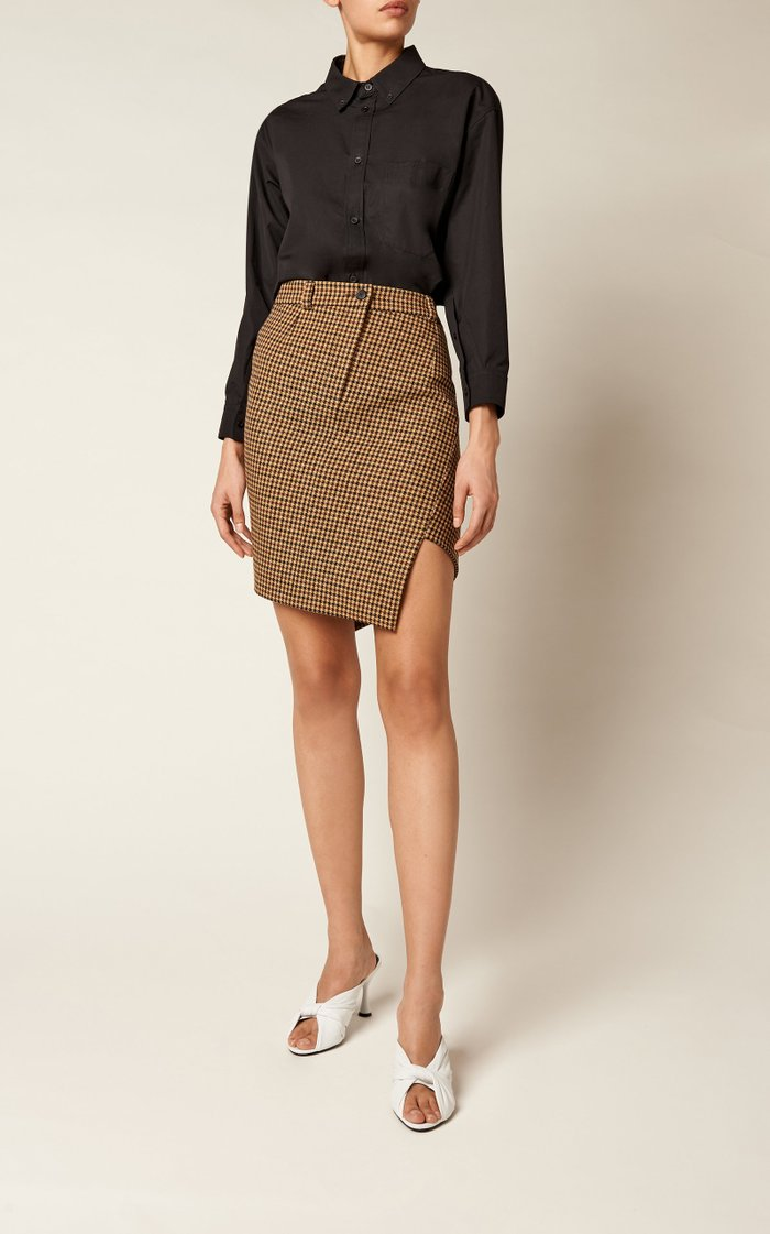 Asymmetric Houndstooth Wool Mini Skirt