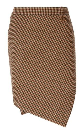 Asymmetric Houndstooth Wool Mini Skirt
