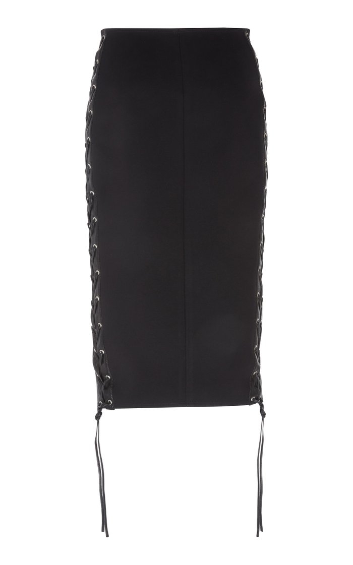 Zip-Detailed Leather Skirt