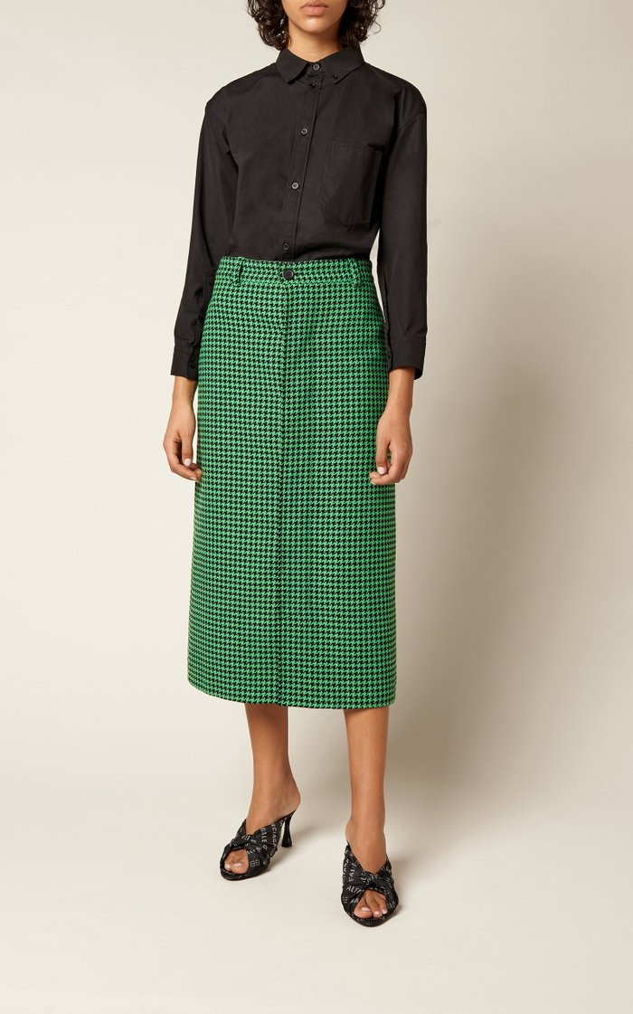 Houndstooth Twill Midi Skirt