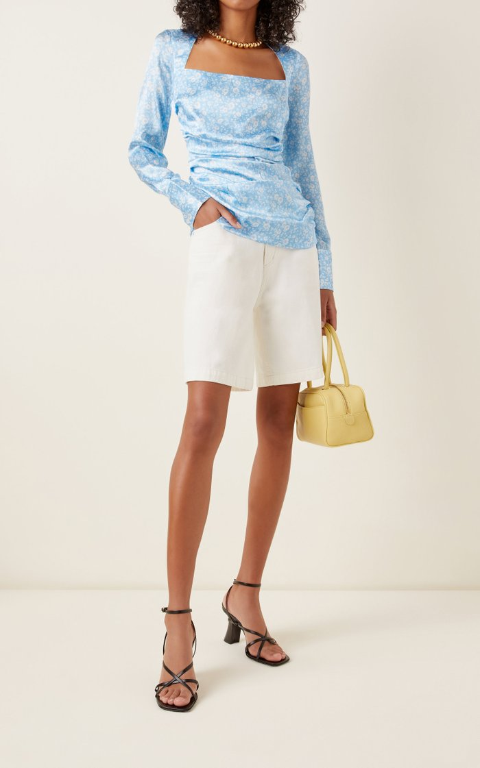 Gingham Ruched Silk Blouse