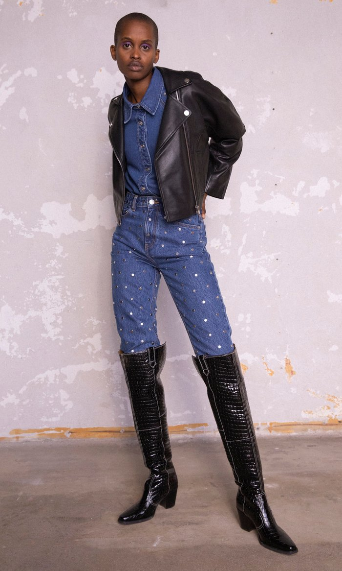 Cropped Grain Leather Jacket