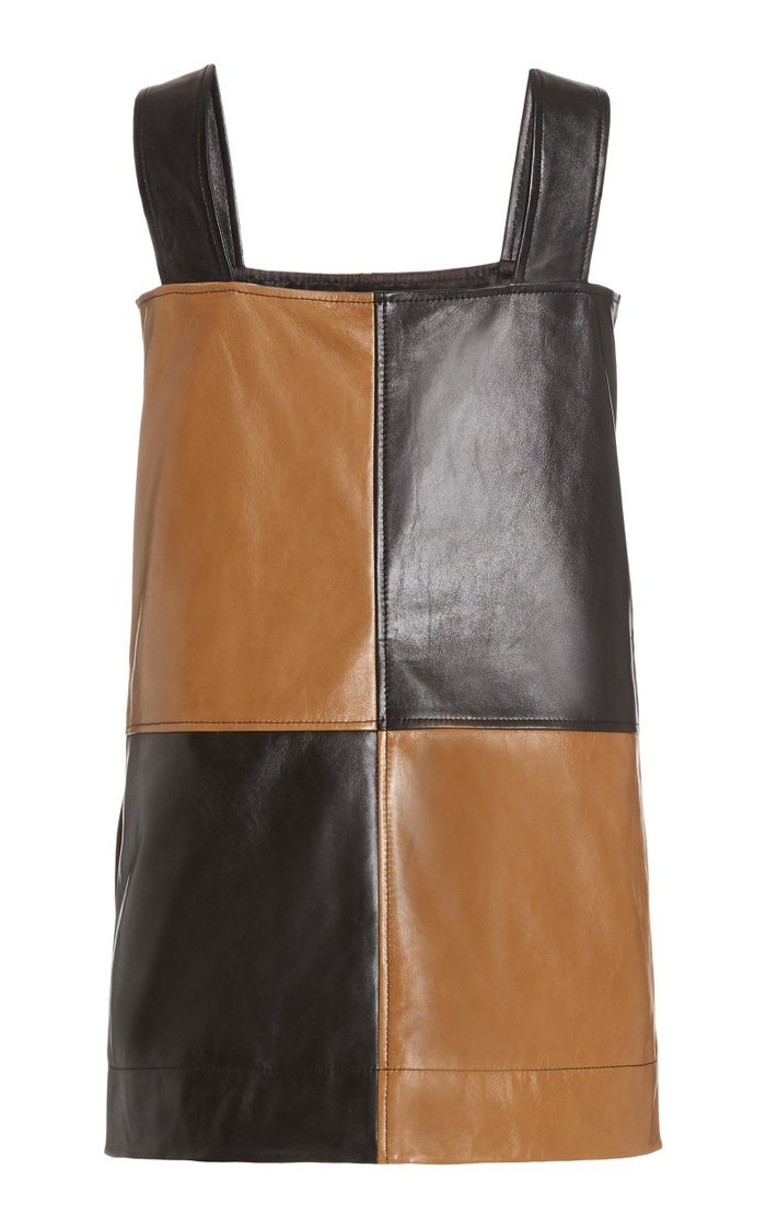 Two-Tone Leather Mini Dress