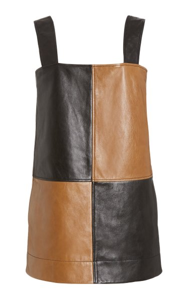 Two-Tone Leather Mini Dress