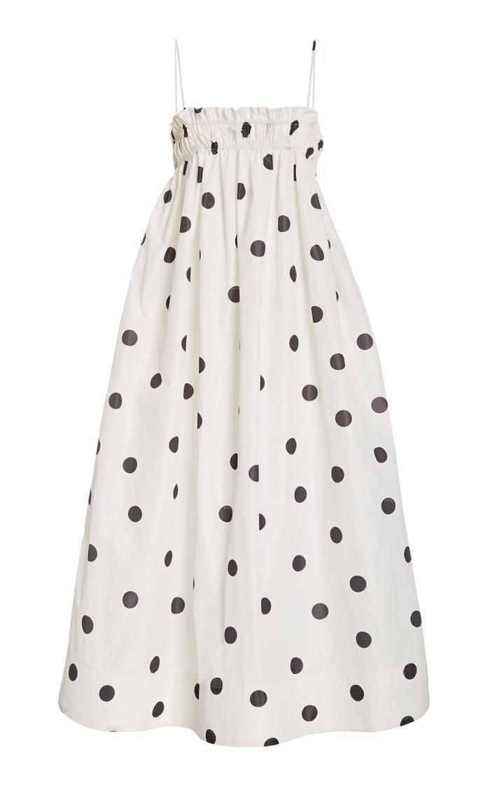 Polka-Dot Recycled Crepe Midi Dress