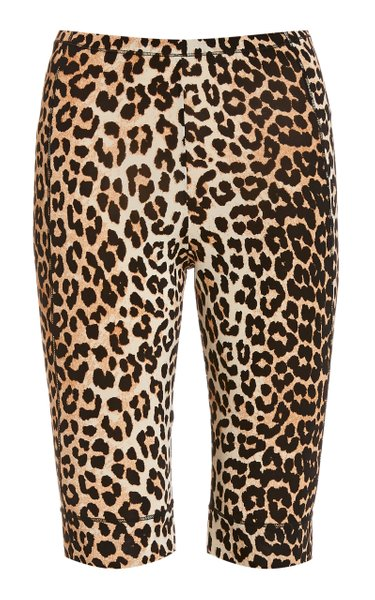 Leopard-Print Jersey Bicycle Shorts
